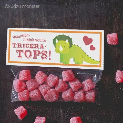 Triceratops Valentine Treat Topper