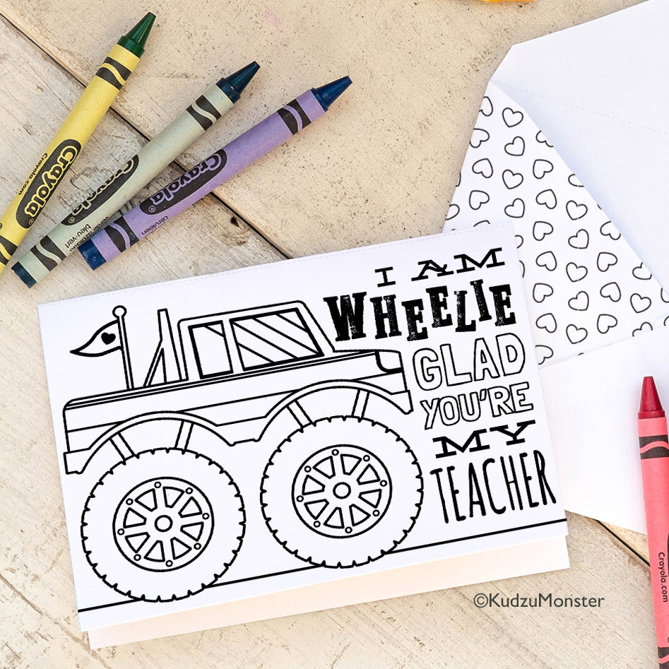 Coloring Activity Teacher Appreciation Card: Monster Truck