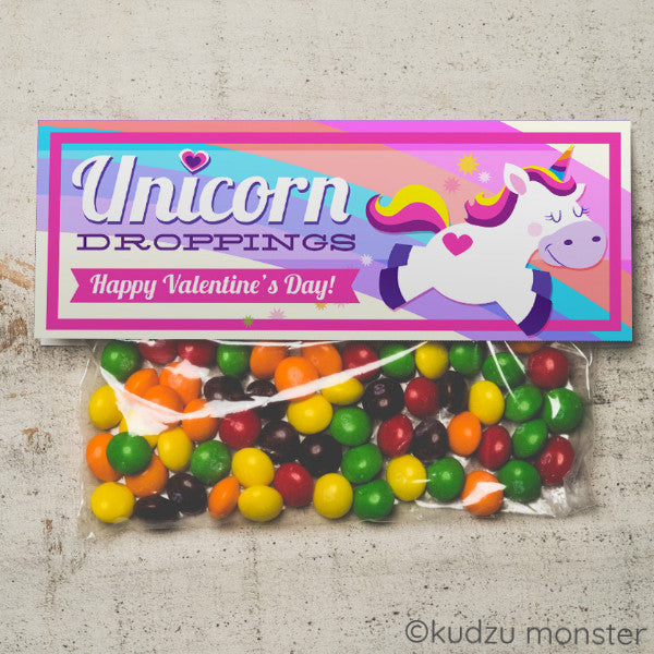 Valentine Unicorn Treat Topper - Kudzu Monster