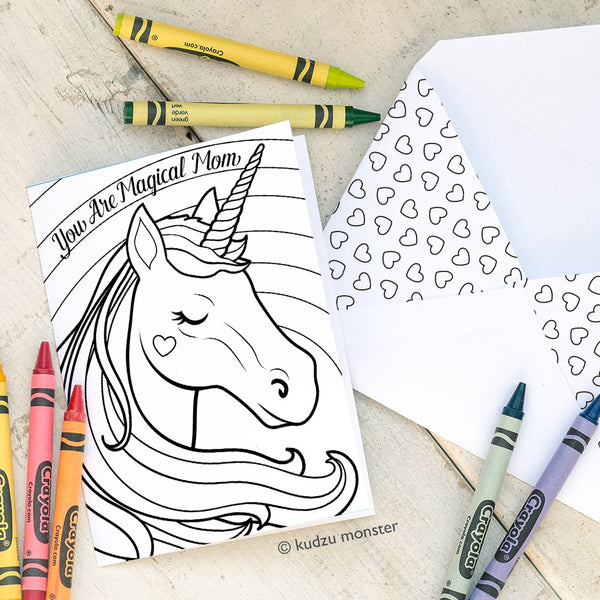 Unicorn Coloring Mother's Day Card
