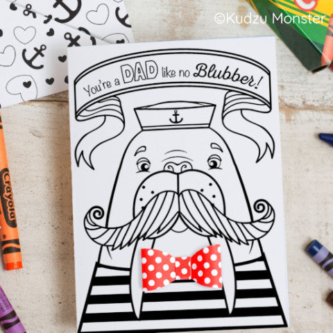 Walrus Father's Day Coloring Greeting Card Activity
