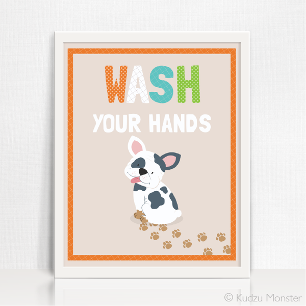 Printable Puppy Wash Your Hands Art - Kudzu Monster