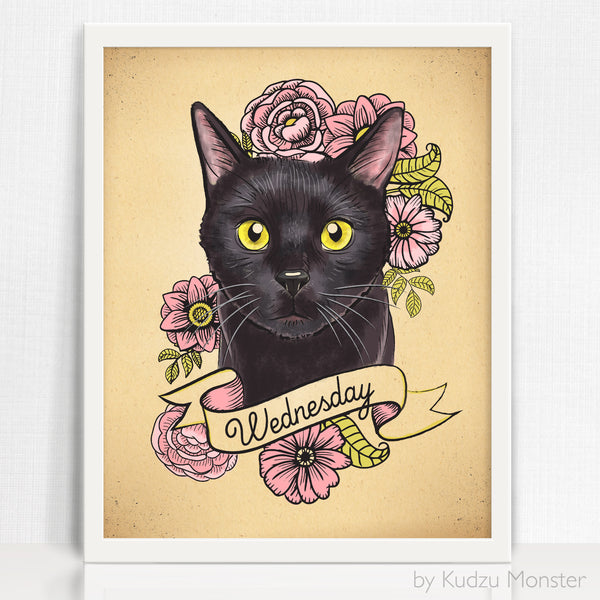 Cat Custom Portrait and art print - Kudzu Monster  - 1