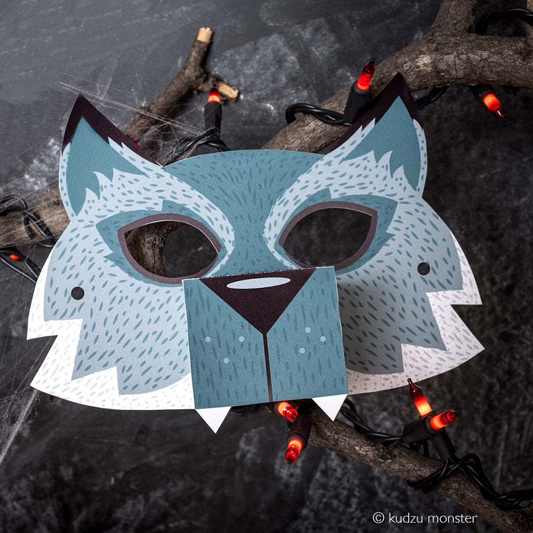 It's just a graphic of Printable Wolf Mask in red