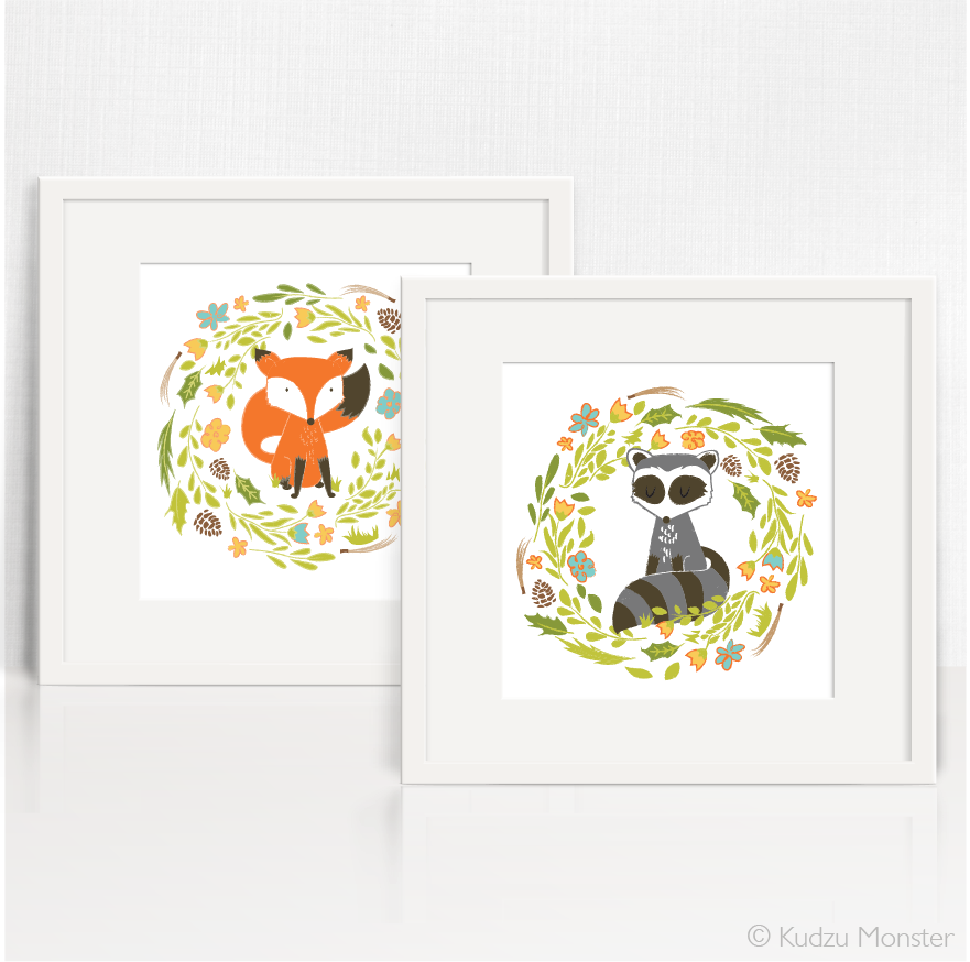 Woodland Fox + Raccoon Art - Kudzu Monster