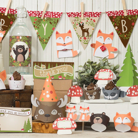 Woodland Party Decor Kit with foxes deer raccoons complete bundle printable decorations and favors