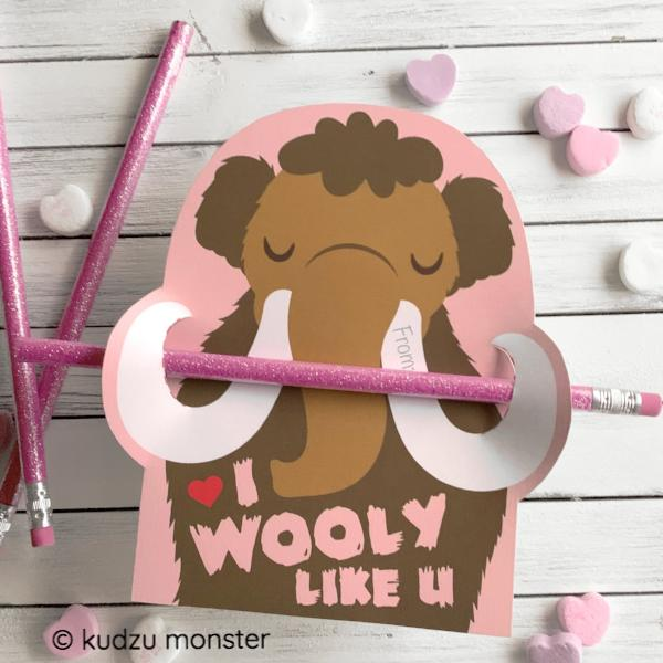 Mammoth Pencil Valentine