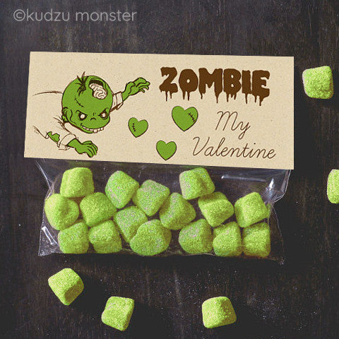 Valentine Zombie Treat Topper - Kudzu Monster