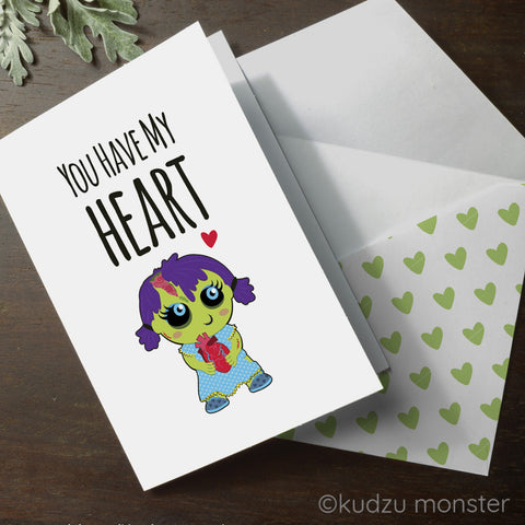 Printable zombie you have my heart valentine's day card