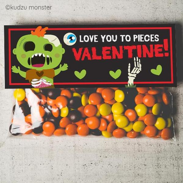 Zombie Love You to Pieces Valentine Treat Topper
