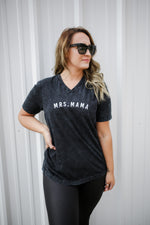 MRS. Mama Black Mineral Wash + White Embroidered JANIS Jersey V-Neck Tee
