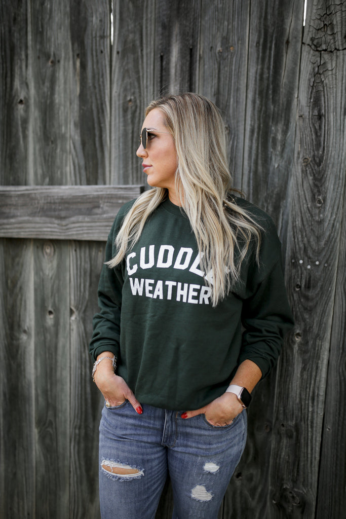 Cuddle Weather Forest + Vintage White Ink LULU Fleece-Inner Pullover  *Final Sale