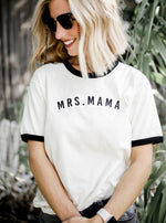 MRS. Mama Natural/Black + Black Embroidered Wiona Jersey Ringer Tee