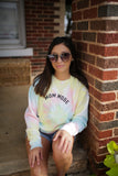 Mom Mode Pastel Tie Dye + Black Matte Ink KIA Fleece Drop Shoulder Pullover