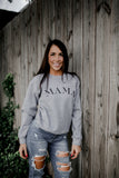 MAMA Floral Sleeve Heather Graphite Grey + Matte Black Ink LULU Fleece-Inner Pullover