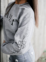 floral mom grey fleece pullover