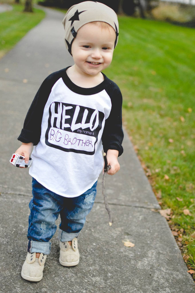 Hello, My Name is Big Brother/Sister Raglan *Final Sale