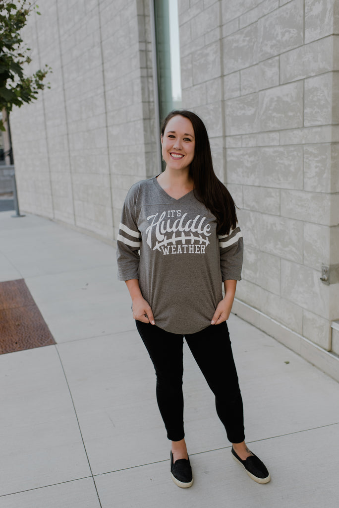 Huddle Weather Grey/White + Matte White Ink Jessa Oversized 3/4 Sleeve Jersey *Final Sale