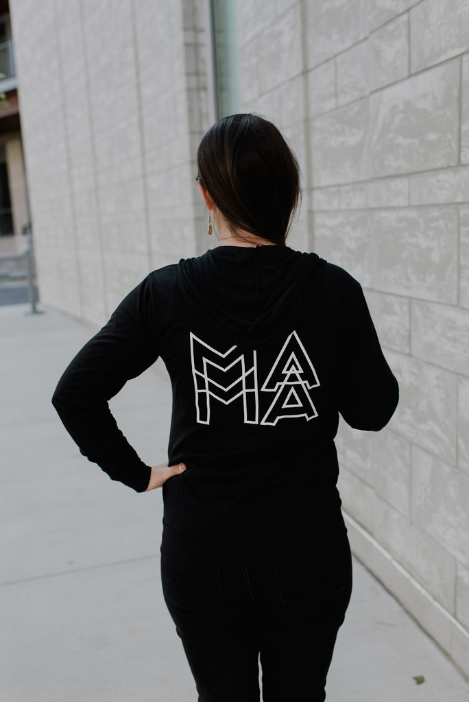 MAMA Modern Black + Matte White Ink Blaire Zip Up Hoodie