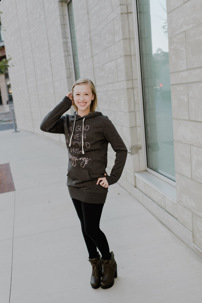 Glad I Live In A World With Leggings Charcoal + Metallic Rose Gold Ink Fleece Tunic Hoodie