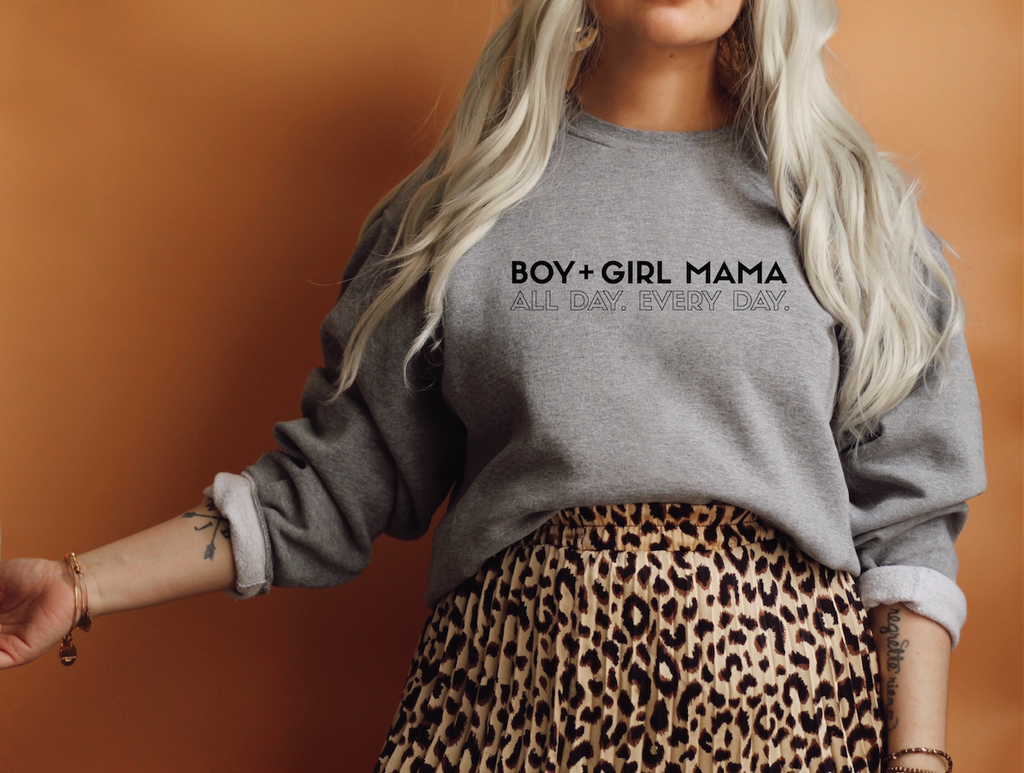 PREORDER (Ships By June 30) Boy + Girl Mama Ash Heather Grey + Matte Black Ink Lulu Fleece-Inner Pullover *Final Sale