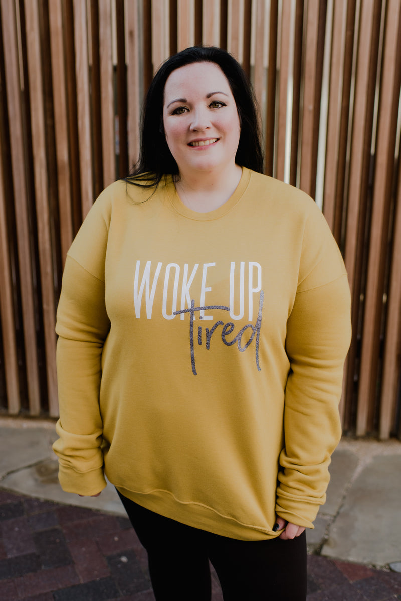 Woke Up Tired KIA Drop-Sleeve Fleece-Inner Pullover *Final Sale
