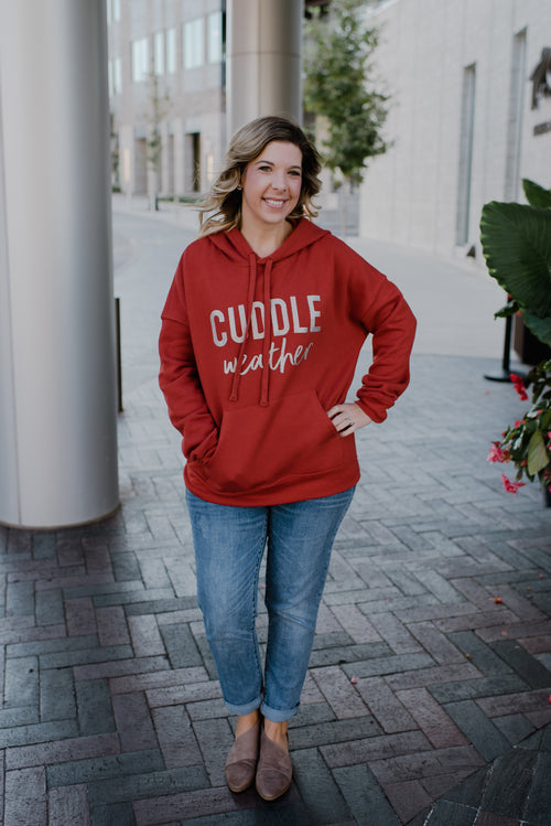 Cuddle Weather Brick + Beige Glitter Ink Landrie Drop-Sleeve Sponge Fleece Hoodie *Final Sale