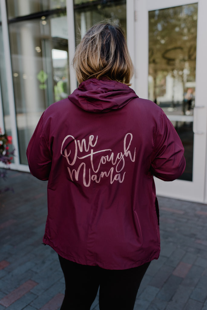One Tough Mama Maroon + Metallic Rose Gold Ink Winnie Windbreaker Jacket