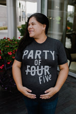 Party of FIVE Charcoal + Vintage White Ink Maternity Tee