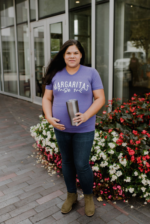 Margaritas Miss Me Purple + Matte White Ink Maternity Tee
