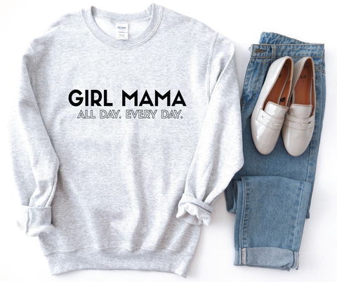 Boy Mama Ash Light Grey + Matte Black Ink Lulu Fleece-Inner Pullover *Final Sale