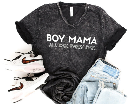 Boy Mama All Day Everyday Black Mineral Wash + Matte White Ink JANIS Jersey V-Neck Tee *Final Sale