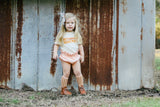 Hey Beautiful Natural Slub + Matte Mustard/Nude/Sienna Vintage Inks Kids Crew Neck Tee and Infant Bodysuit