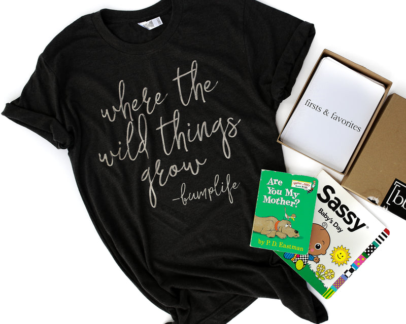 Where The Wild Things Grow -Bumplife Charcoal + Metallic Champagne Ink Maternity Tee