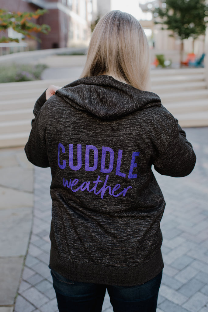Cuddle Weather Black + Electric Purple Glitter Ink Aria French Terry Zip-Up Hoodie