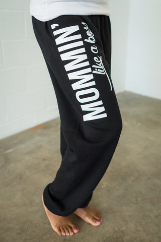 Mommin' Like a Boss Charcoal + Metallic Rose Gold Ink Marci Boyfriend Sweatpants