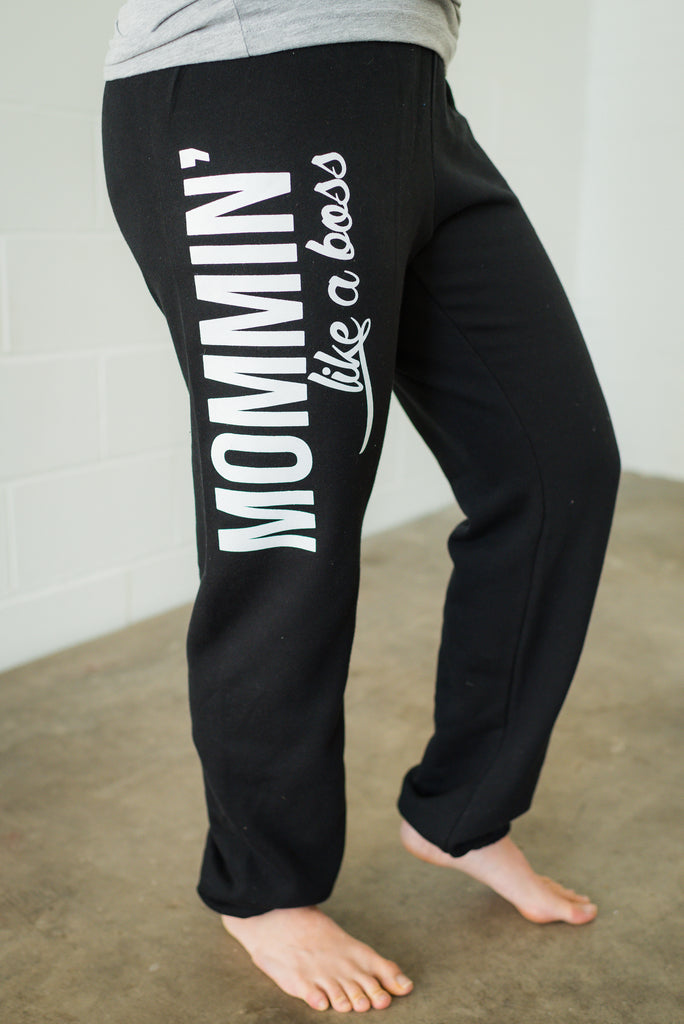 Mommin' Like a Boss Black + White Marci Boyfriend Sweatpants