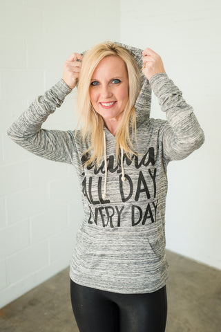 Boy Mama All Day Every Day Blue Daze + Metallic Graphite Ink Tie-Dye Unisex Tee *Final Sale