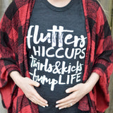 Flutters Bumplife Charcoal + Matte White Ink Maternity Tee