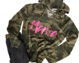 Mama Script Camo + Electric Neon Pink Ink AUDEN Lightweight California Wave Wash Fleece Inner Hooded Sweatshirt