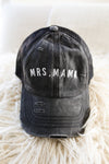 MRS. Mama Black Distressed Mineral Wash + White Embroidered Pony Trucker Hat with CRISS-CROSS Opening *Final Sale