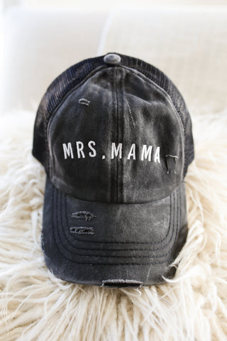 Girl Mama ADED Black Mineral Wash + White Embroidered Baseball Hat *Final Sale