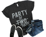 Party of THREE Charcoal + Vintage White Ink Maternity Tee