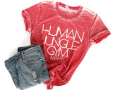 Human Jungle Gym Red Acid Wash + White Crew Neck Tee