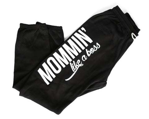 Mama All Day Every Day Striped Grey/White + Copper Rose Glitter Ink Lola Lounge Pants *Final Sale