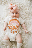 Baby Girl Natural + Matte Vintage Inks Kids Crew Neck Tee and Infant Bodysuit