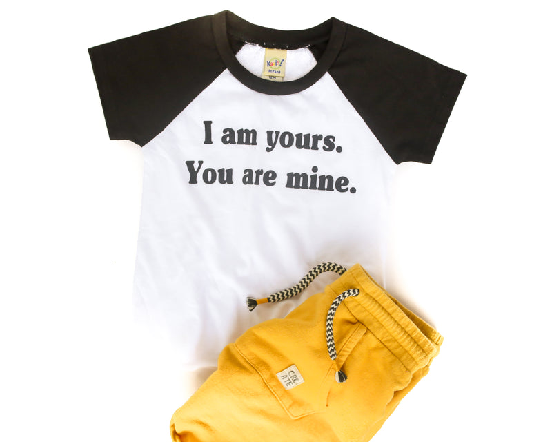 I Am Yours You Are Mine White/Black + Matte Black Ink Wiona Ringer Kiddo Tee