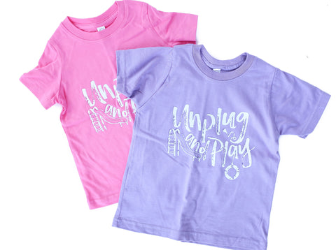 Perfectly Imperfect Unplug and Play PURPLE + White/Purple Color Changing Ink Kids Crew Neck Tee *Final Sale