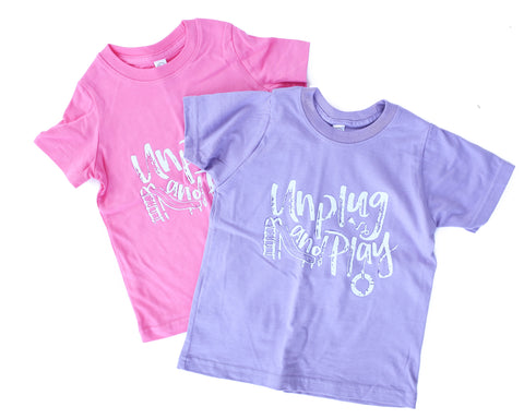 Unplug and Play Pink Flash + White/Purple Color Changing ink Kids Ruffled Crew Neck Dress