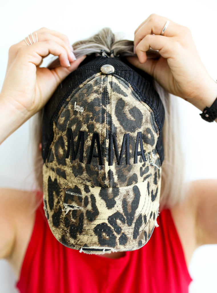 MAMA Distressed Leopard Print + Black Embroidered Trucker Hat With CRISS-CROSS Opening *Final Sale